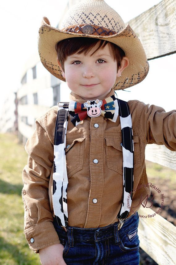 Cow Bow Tie Cow Suspenders Toddler Cowboy Country Boy Birthday