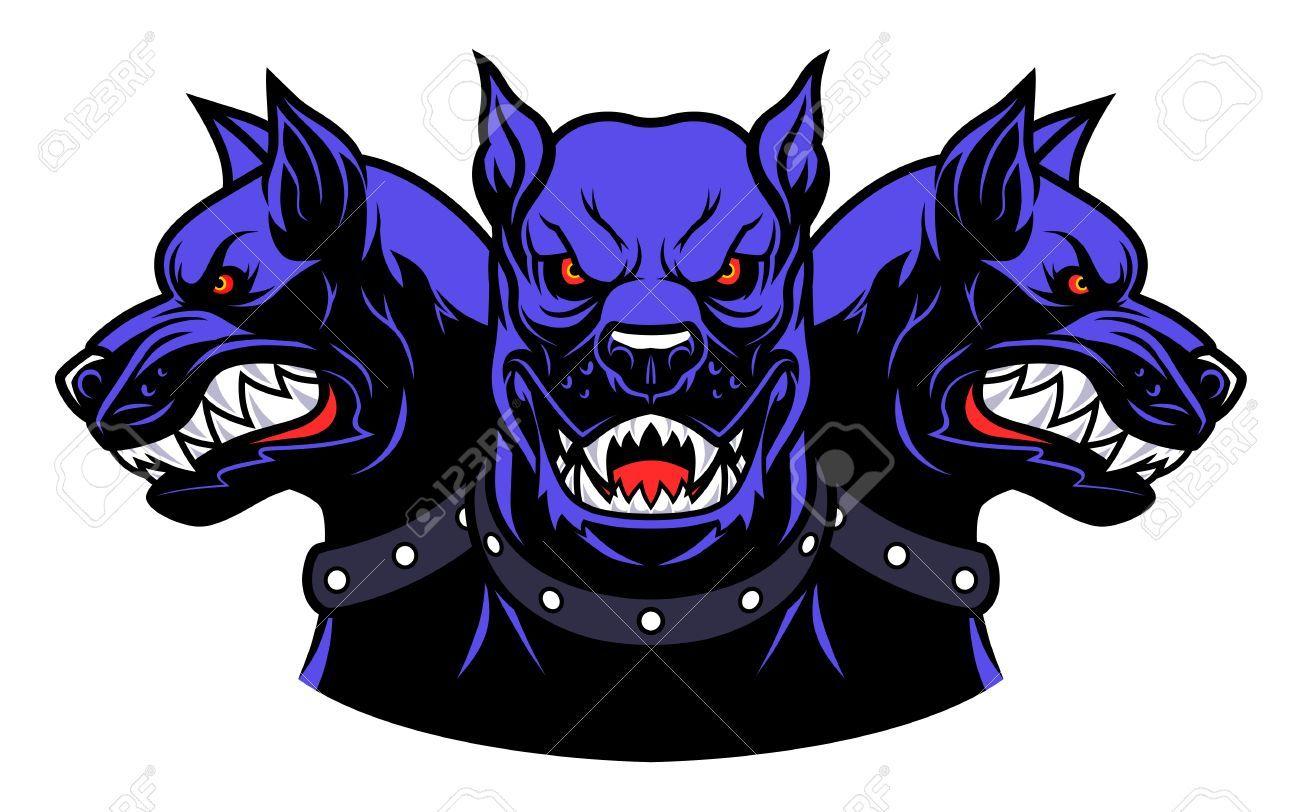 Cerberus Heads Cerberus Dog Logo Illustration [ 812 x 1300 Pixel ]