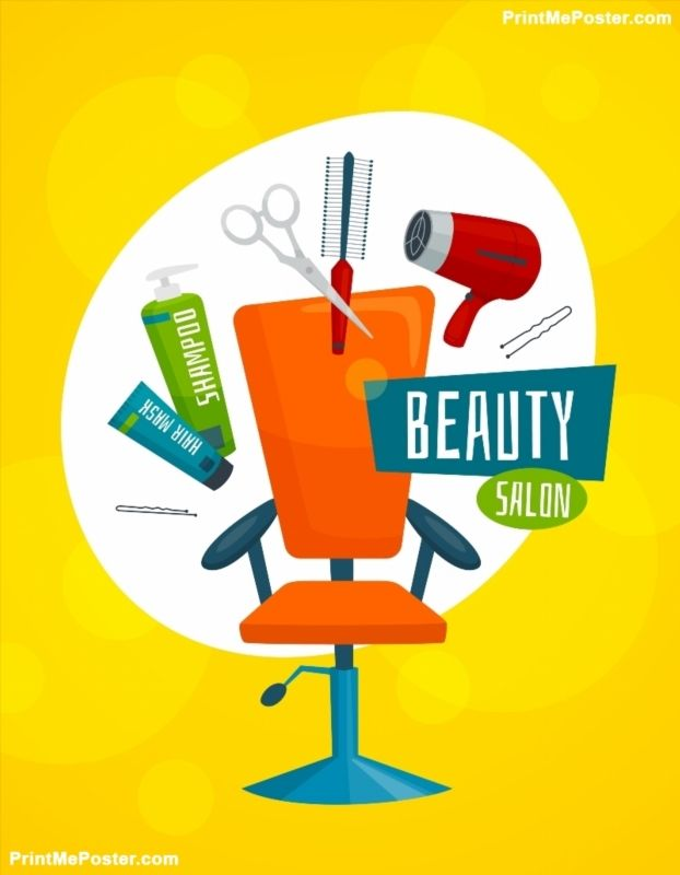 cartoon hair salon care beauty vector tools illustration poster template salons posters visit illustrations