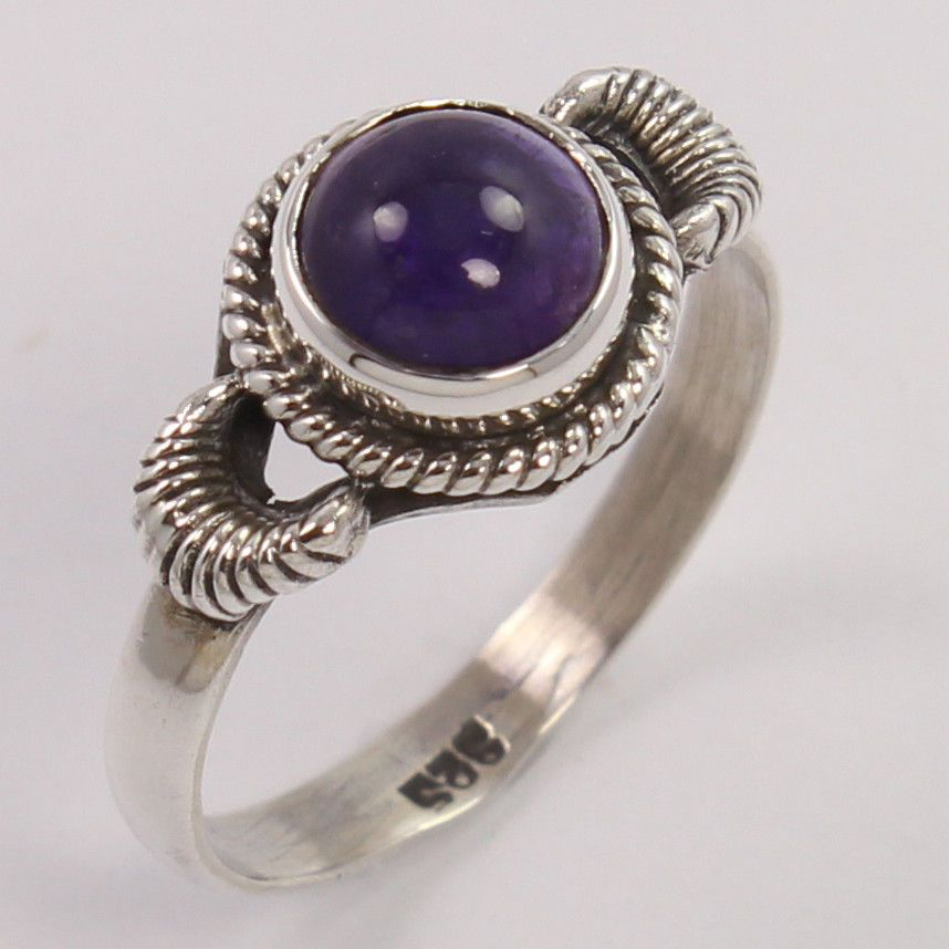 Beautiful Design 925 Sterling Silver Ring Size US 7 Natural AMETHYST Round Gems #Unbranded