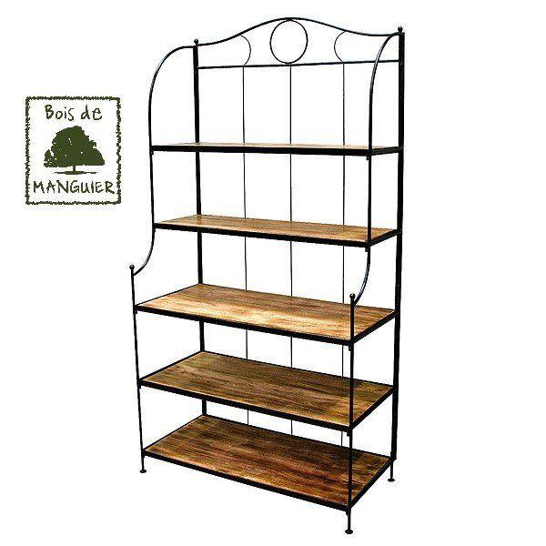 Magnifique étagère en bois de manguier et fer forgé sur www ...