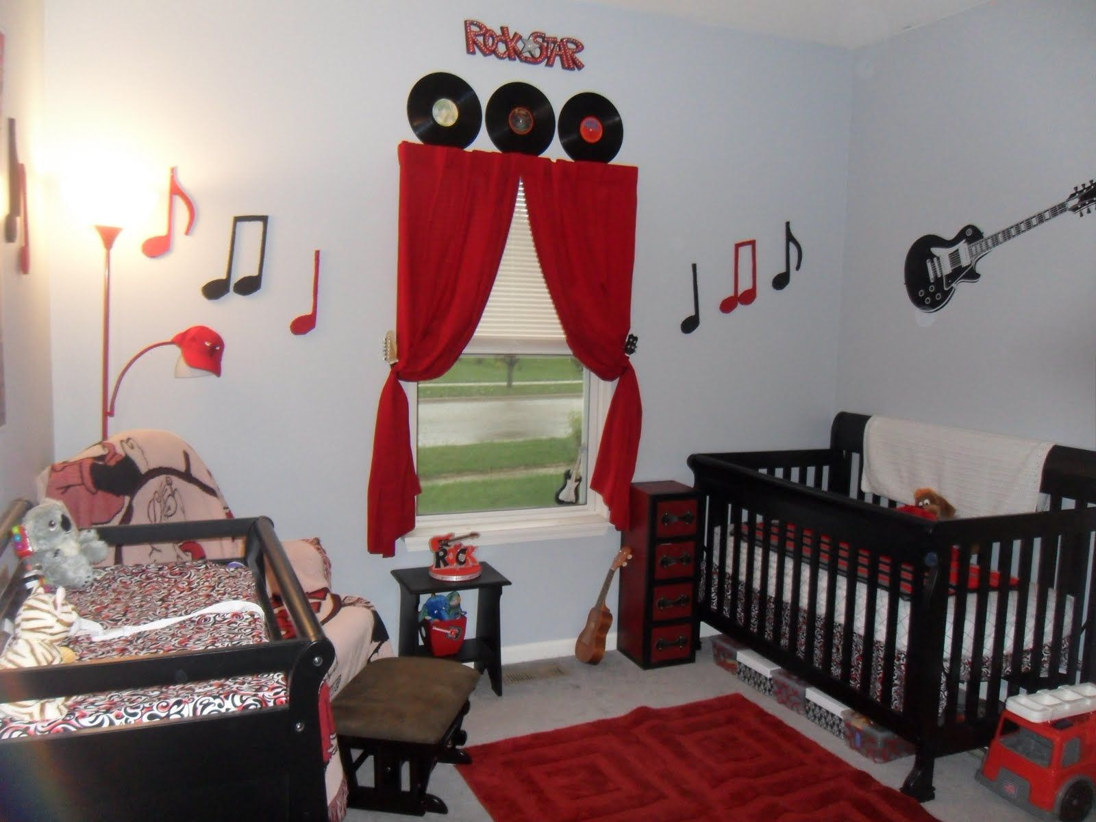 Rock And Roll Baby Room But In Lime Green, Teal And Black