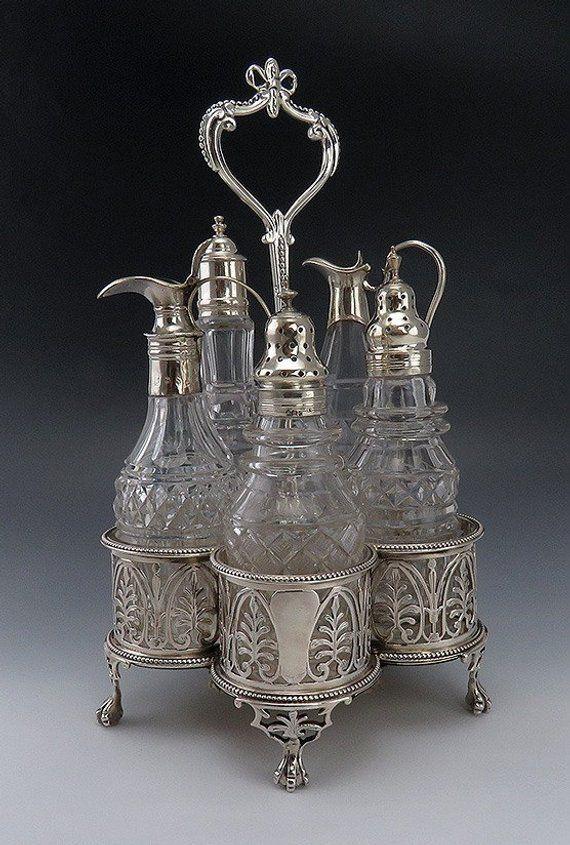 Lovely Antique Silver Sterling British Salt Pepper Bowls Decorative Arts Other Antique Decorative Arts