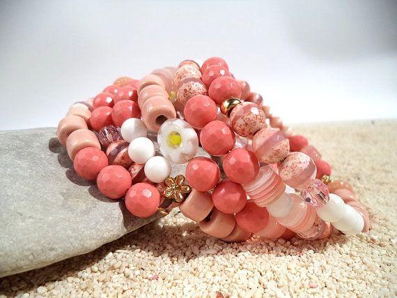Pink coral bracelet Boho chic Beach jewelry by ArilelJewelry