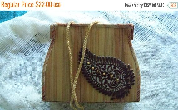 20%OFF Restyled Purse Upcycled Peach Beige Tan Striped GLAM Holiday Special Occasion Gift Ideas Mother's Day Christmas Spring