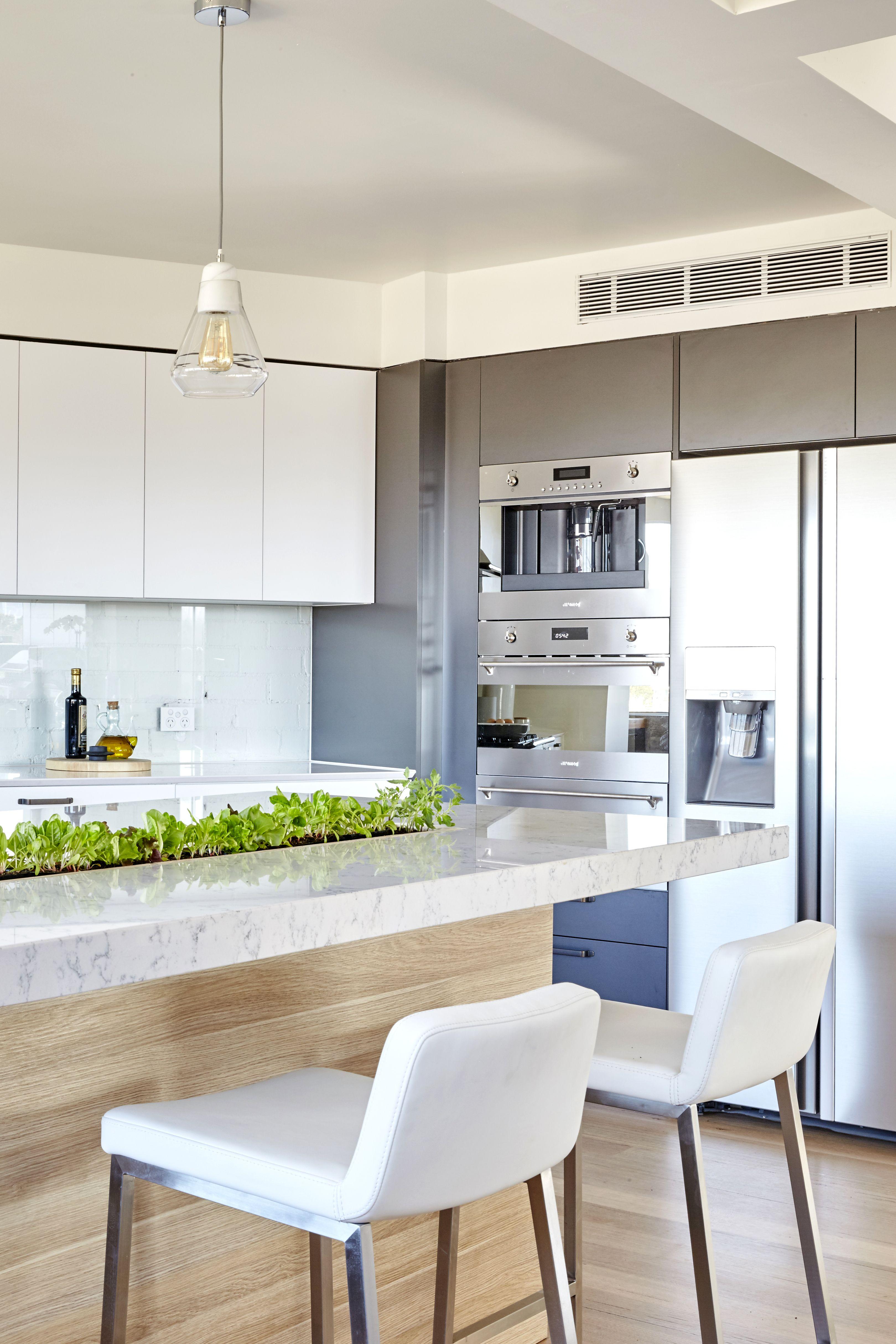 Minimalist white modern kitchen with a garden strip in the counter ...