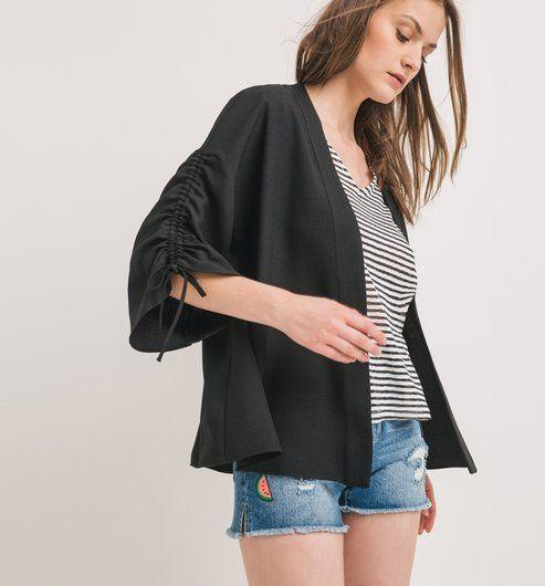 Veste de kimono noire