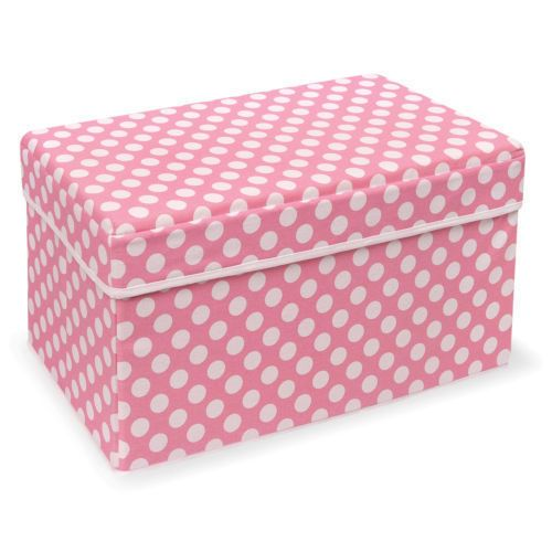 Basket Storage Seat Pink Polka Dot Baby Teen Child Trunk Chest Container Bedroom
