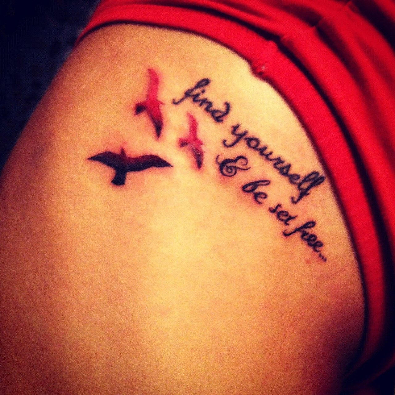 Flying Birds Watercolor Tattoo Quotes On Arm