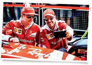 5c77be496e Ferrari F1 drivers Kimi Räikkönen and Sebastian Vettel snap a selfie in Ray- Ban from