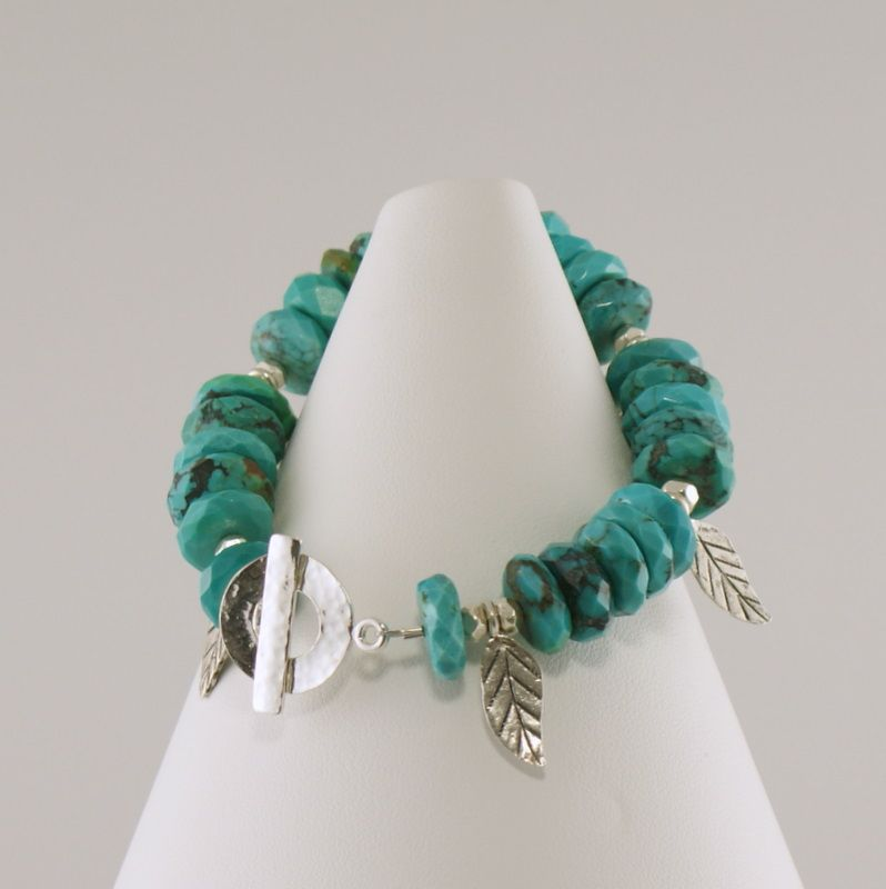 Faceted Turquoise Rondelles and Silver Leaf Beads