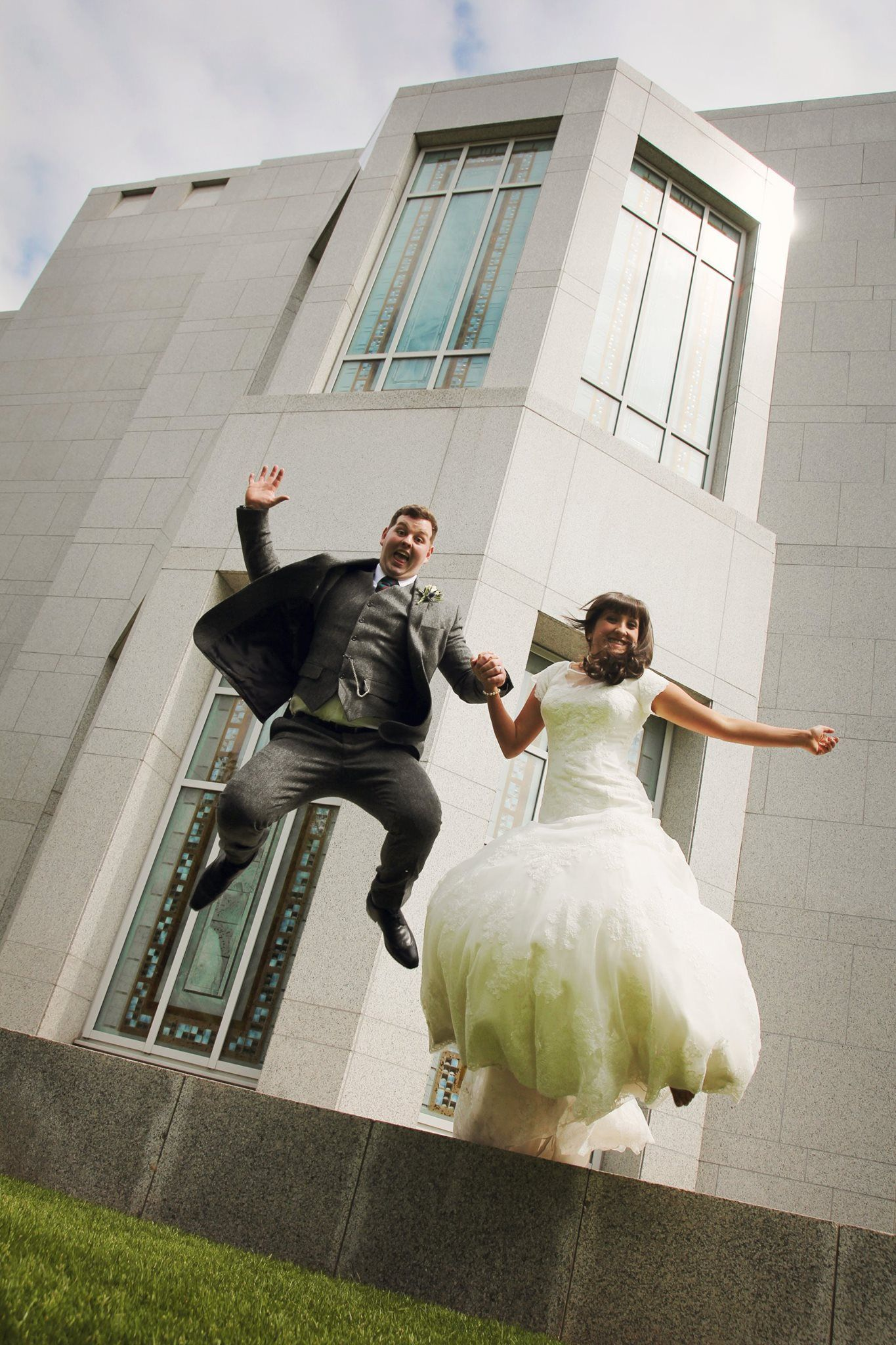 Jumping for joy at Preston Temple! #wedding #photography