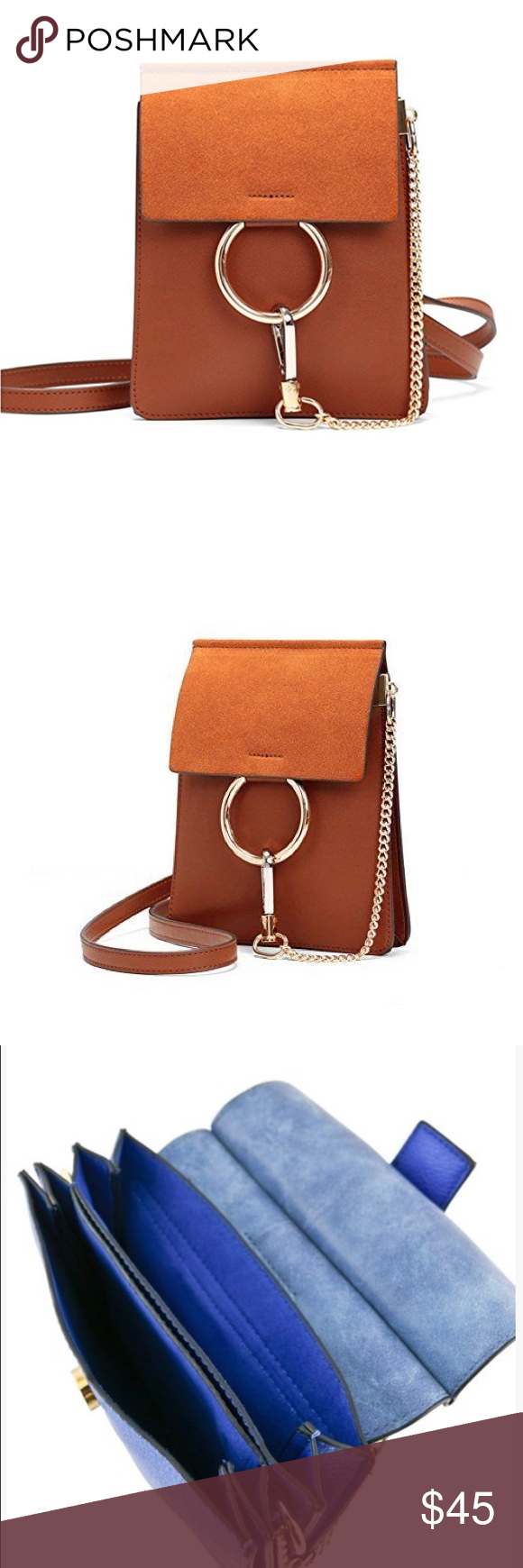 """Chloe Cognac Crossbody with Gold Ring Hardware Chloe Cognac Crossbody with Gold Ring Hardware  Color: Cognac Material: Vegan leather  Style: Mini Clutch/Crossbody Closure: Snap  Features: Two large gold circles, gold chain for holding, and comes with extra long leather adjustable Strap 49""""  Size: 8"""" x 10"""" x 1"""" GlamVault Bags Crossbody Bags"""