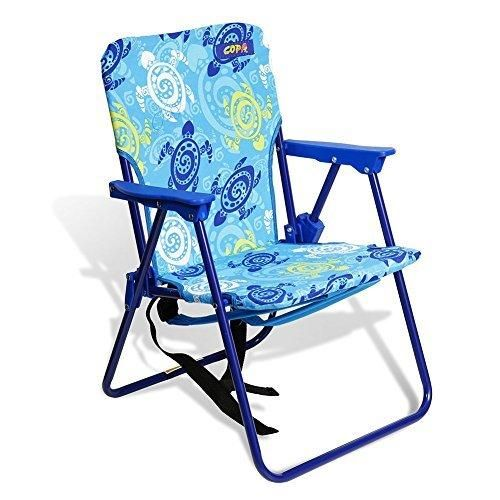 KID'S Beach & Camping Chair with Safety Lock to prevent accidents with Children Ultra-Resistant Steel and Backpack Straps (Turtle Print OZ) by JGR Copa