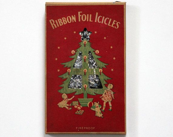 vintage 1940s ribbon foil icicles christmas tree lead tinsel from metal goods corporation - Icicles For Christmas Tree