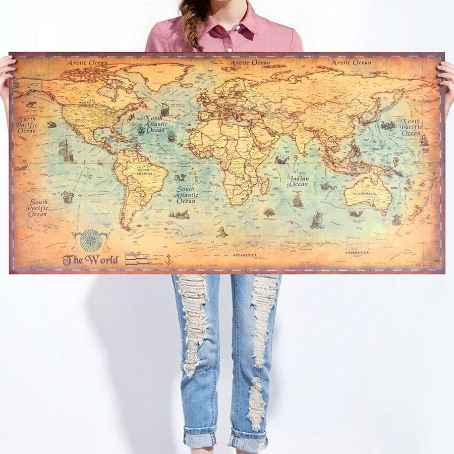 Pictures Paper Painting Nautical Ocean Kraft Vintage World Map Wall Sticker