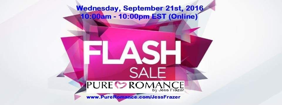 Pure Romance Flash Sale! Does your marriage need a little more spark? Surprise your husband with a few new toys!  https://m.facebook.com/events/101287143665585