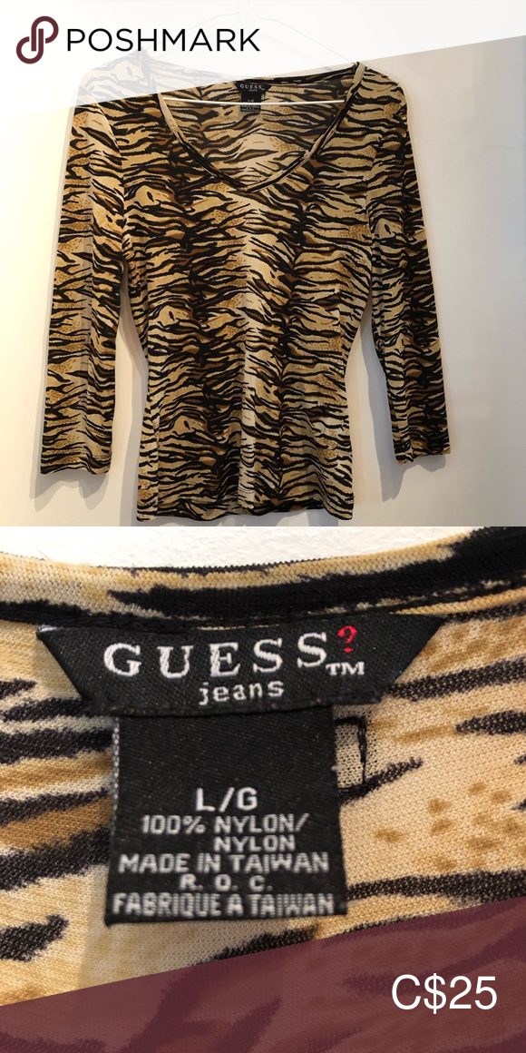 Guess Leopard V Necked Top Guess Leopard V Necked Top Stretchy