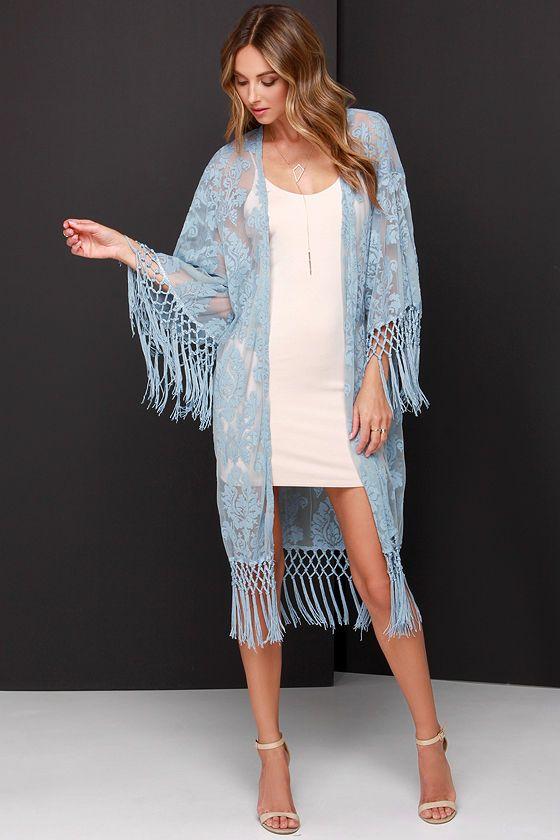 84a568bea Oahu Loves You Light Blue Lace Kimono Top | Fashion | Lace kimono ...