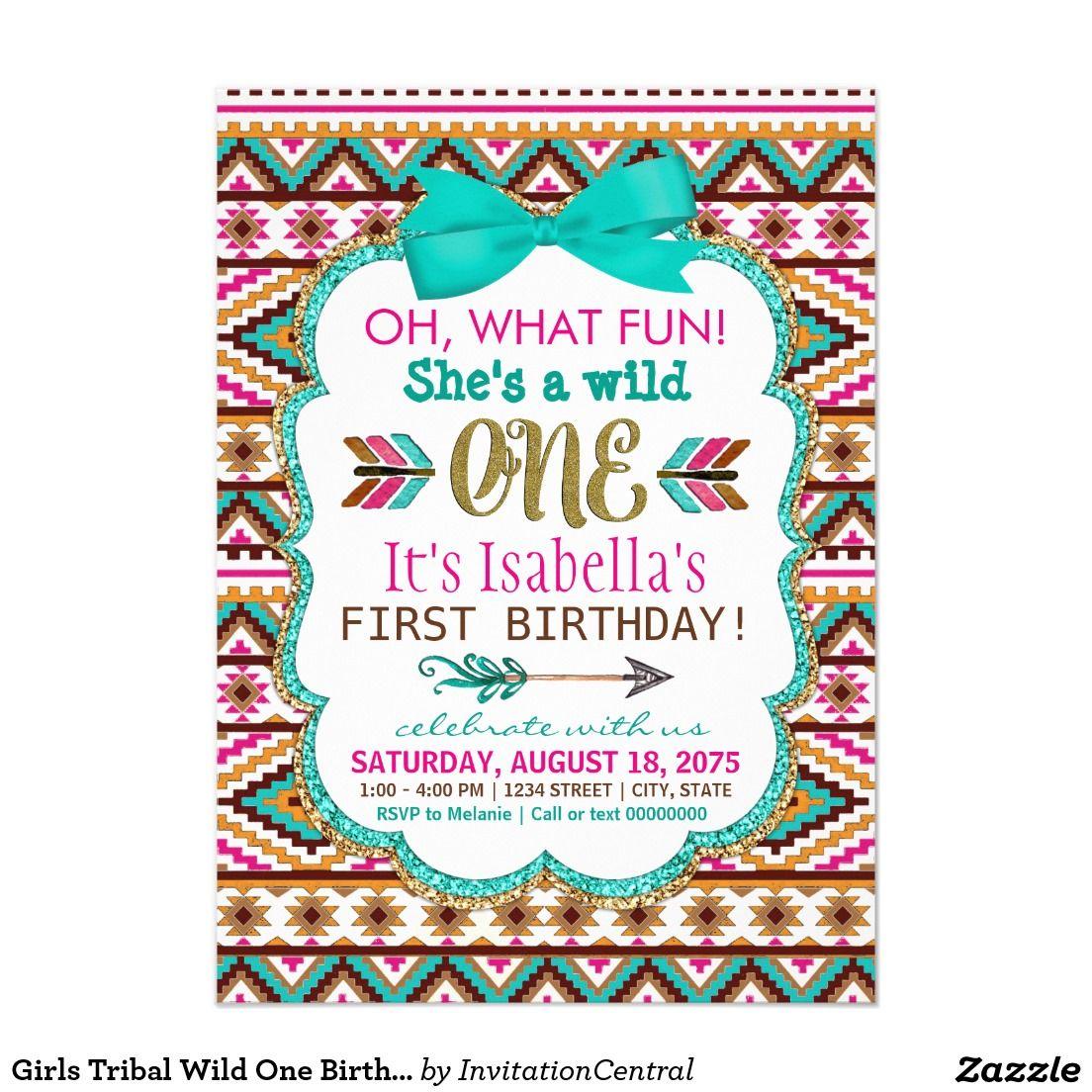 Girls Tribal Wild One Birthday Party Invitations First Birthday - Invitation birthday party girl
