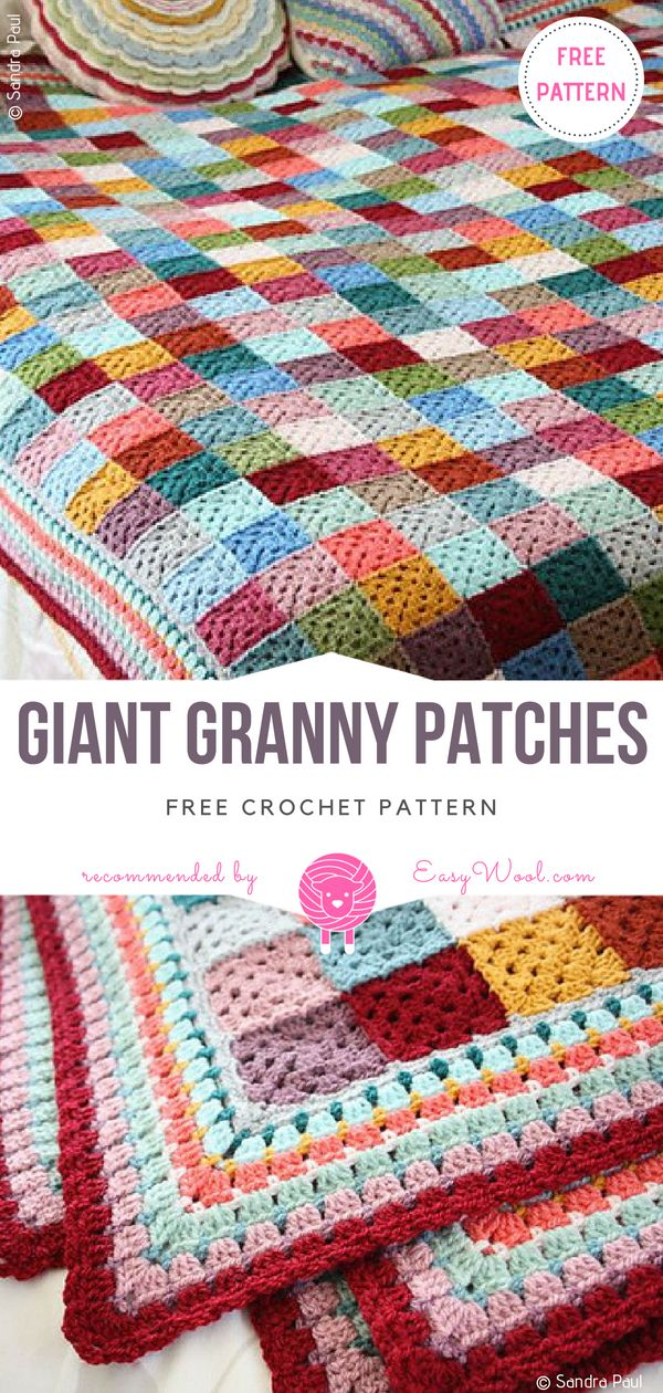 Giant Granny Patches Free Crochet Pattern on easywool.com | Scrap ...