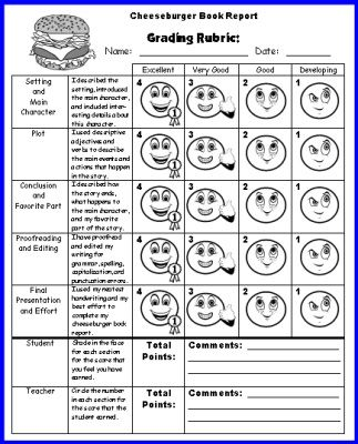 cheeseburger book report project: templates, printable worksheets, Powerpoint templates