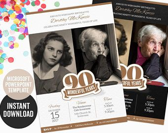 90th birthday invitation powerpoint template for a create it