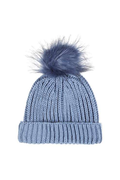 a045c06ee83 ... as the weather gets colder with this cute blue knitted beanie with a  tipped faux fur pom. A wardrobe essential for accessorising your outfit.   Topshop