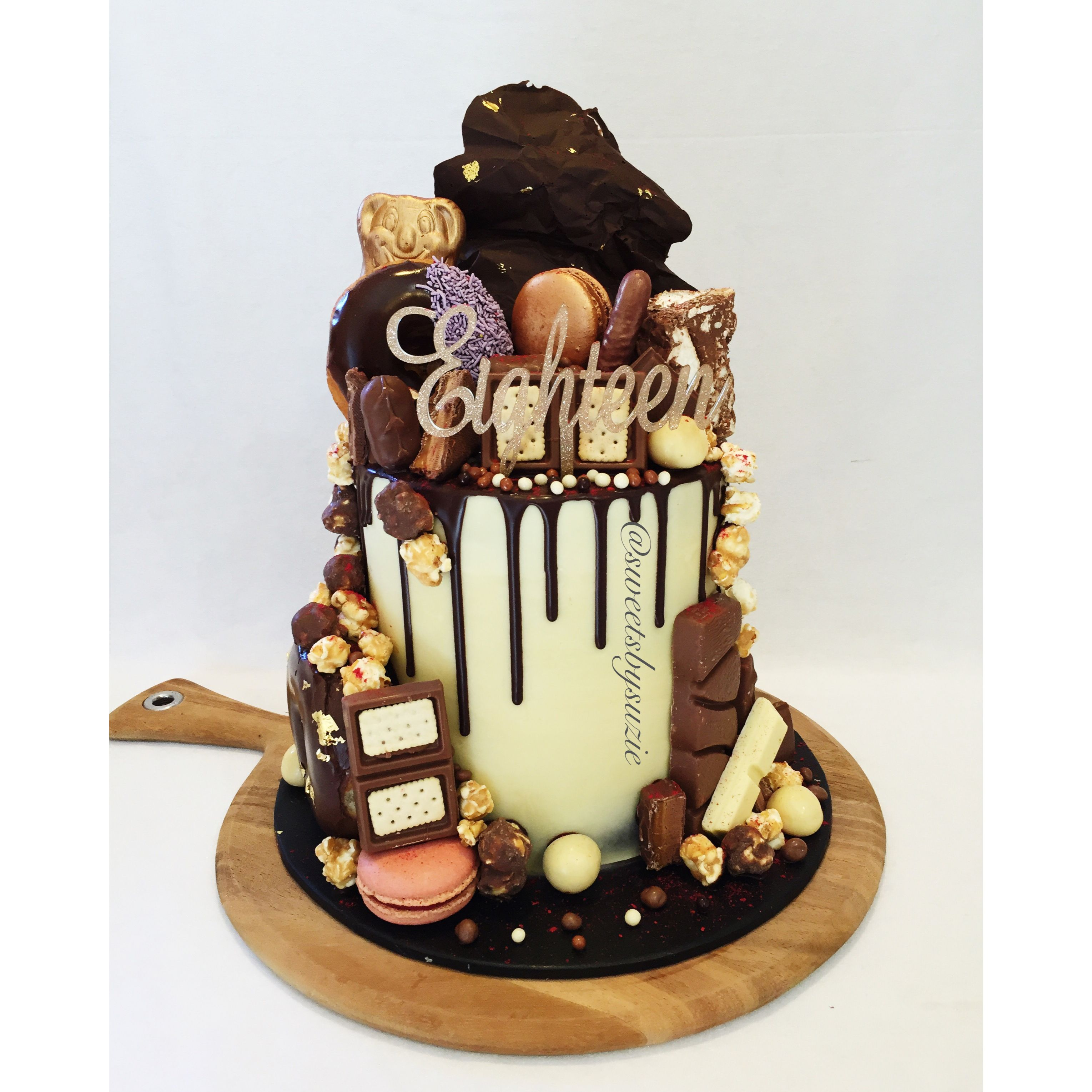 Chocolate drip and overload 18th birthday cake made by for 18th cake decoration