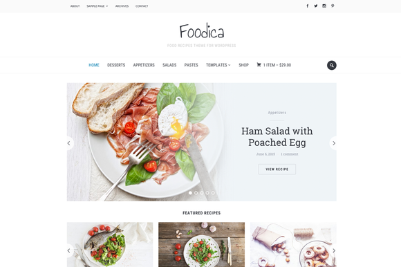 Foodica - Food Recipes WP Theme by WPZOOM | WordPress Themes | Pinterest
