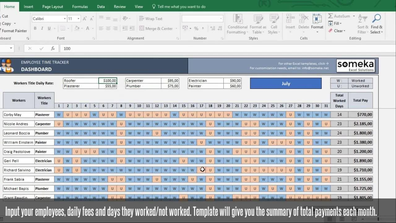 Employee Time Tracker And Payroll Template Someka Excel Template