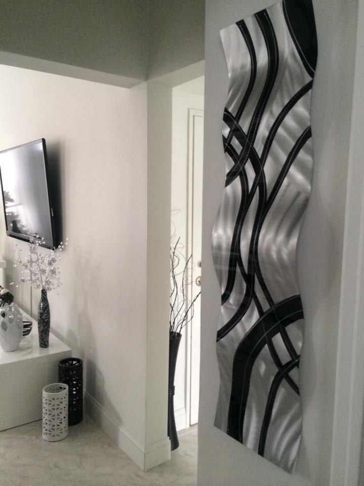 Crossroads wave abstract metal art wall sculpture by jon allen displayed in  contemporary also silver sky  brian  jones rh pinterest