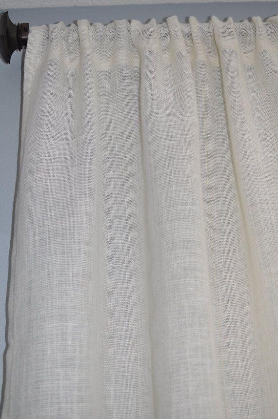 White Burlap Curtain Panel 44 Width X Custom By NaptimeDIYer 3000
