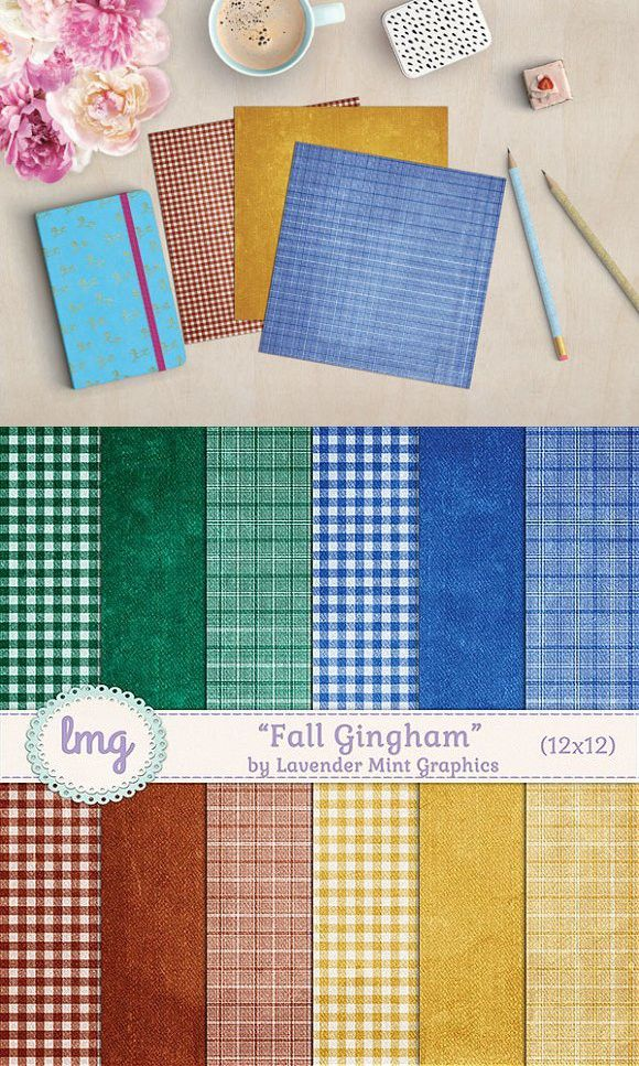 Fall Gingham Scrapbook Papers Plaid Patterns Pinterest