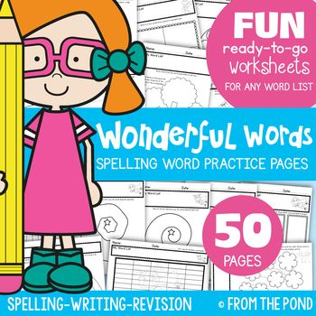 Spelling {Word Work} Worksheets for ANY LIST | Spelling words, Word ...