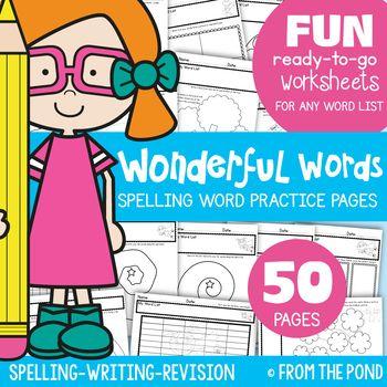 Spelling {Word Work} Worksheets for ANY LIST | Spelling words, Word ...