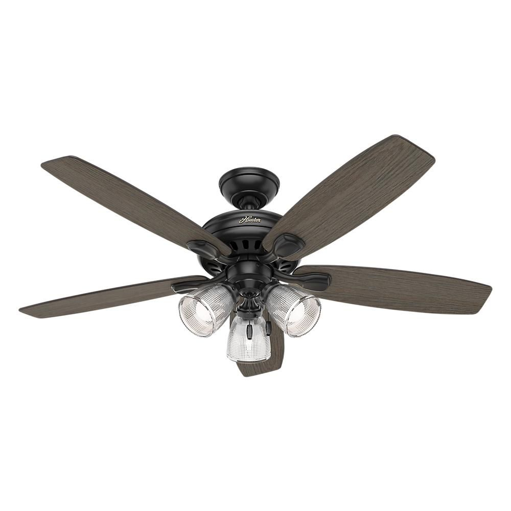 Hunter Highbury Ii 52 In Led Indoor Matte Black Ceiling Fan With Light Kit 52028 The Home Depot I Want This For Living Room And Master