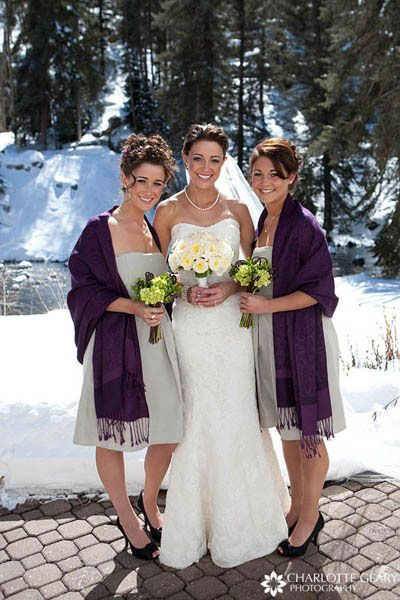 Bridesmaids With Sage Green And Purple Pashminas