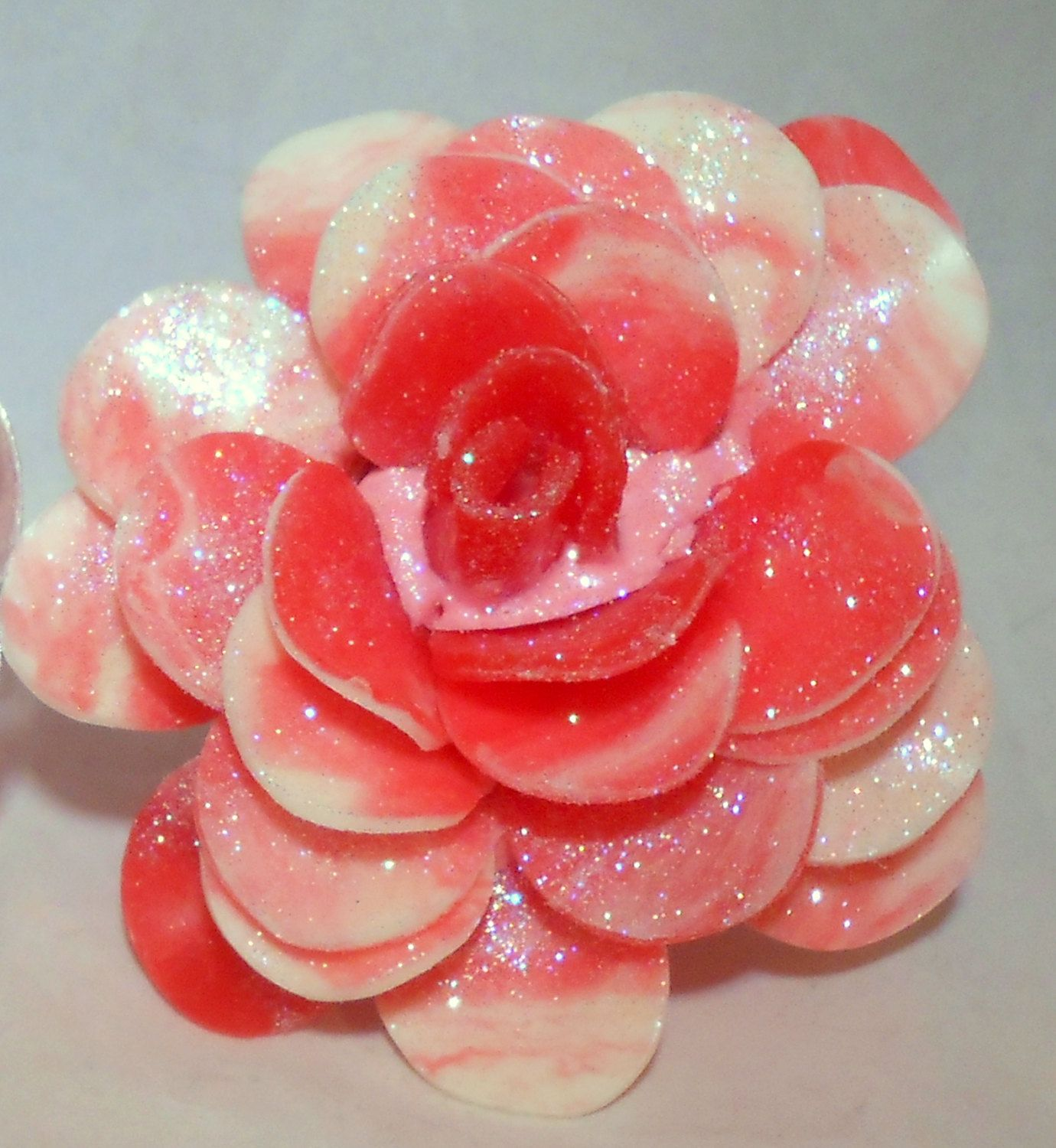 Pomegranate scented cut and carved rose soap via etsy