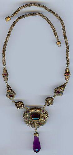 Vintage Austria Austro Hungarian Amethyst Glass Brass Enamel Dangle Necklace   eBay