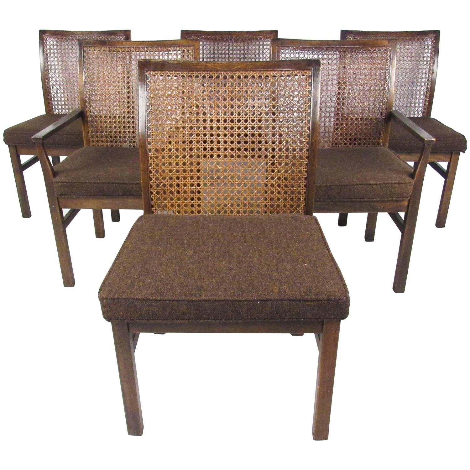 Set Of Six Midcentury Modern Cane Back Dining Chairslane Endearing Dining Room Chairs Mid Century Modern Design Inspiration