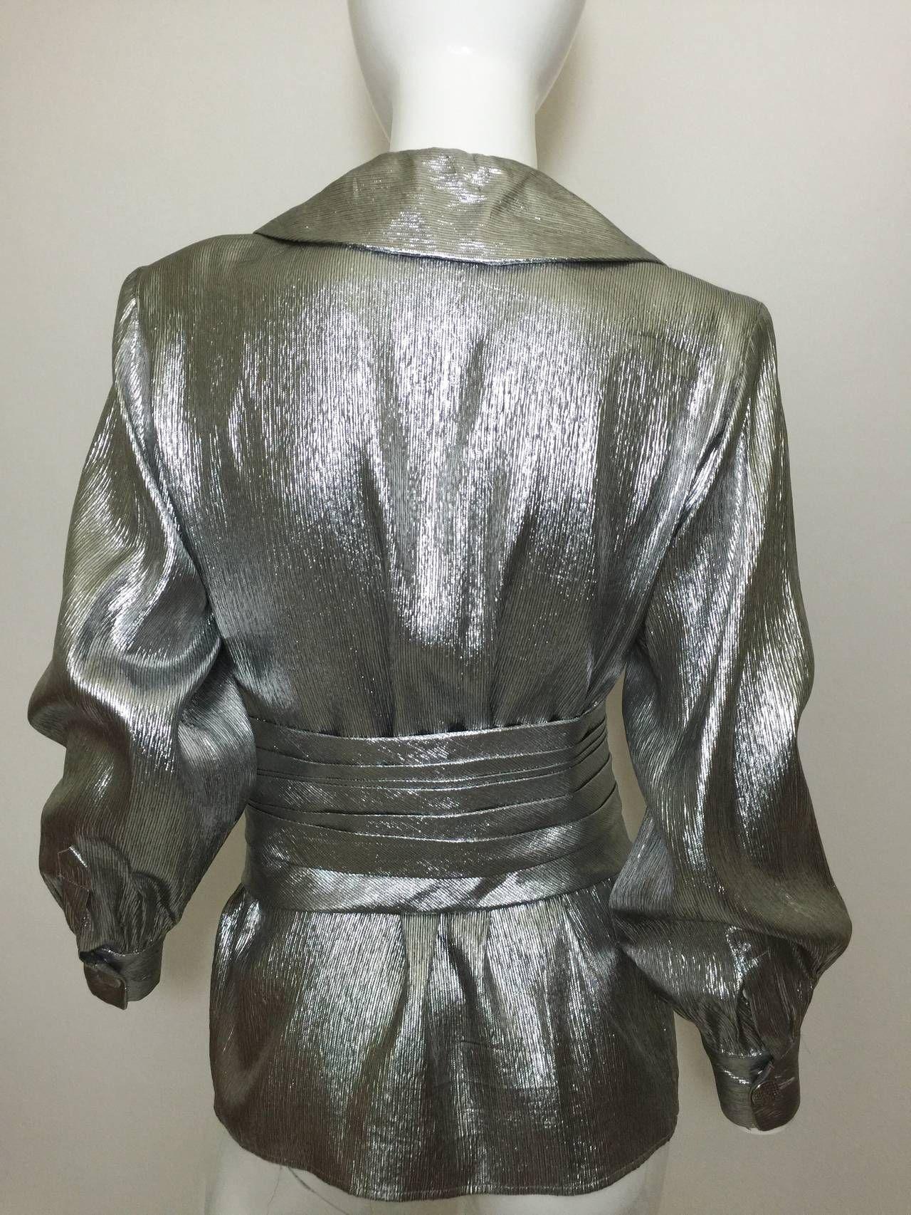 249b96da9ba Vintage Saint Laurent Metallic Silver Blouse & Cumberbund Belt YSL image 3