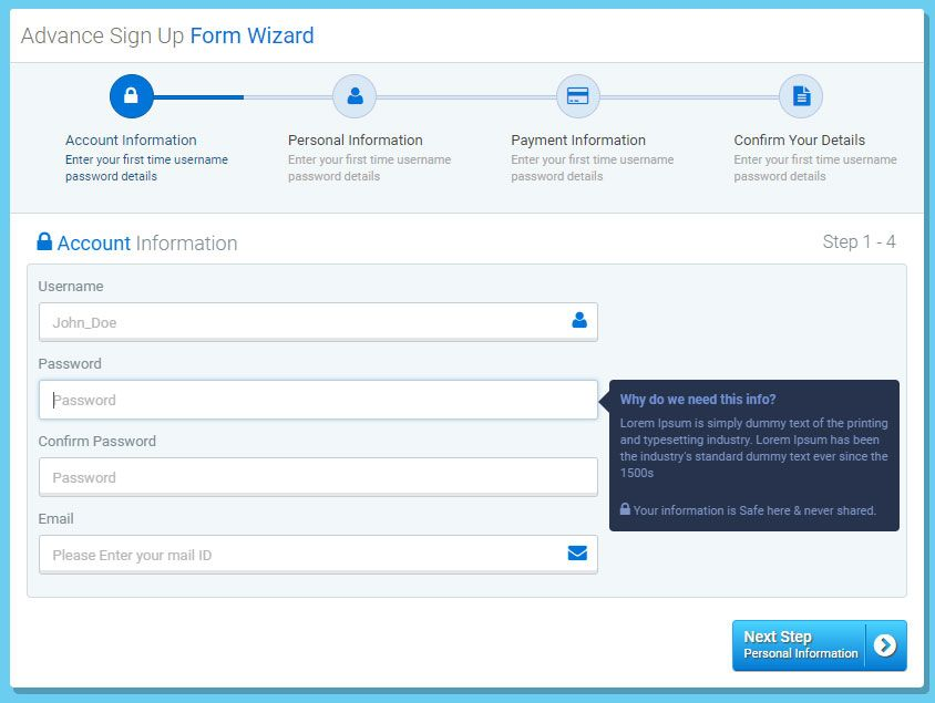 Responsive Login Sign Up And Payment Form Wizard  Https
