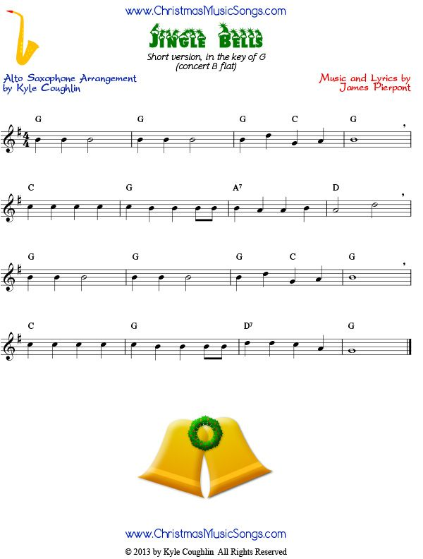 Jingle Bells Easy Sheet Music For Alto Saxophone Arranged To Play