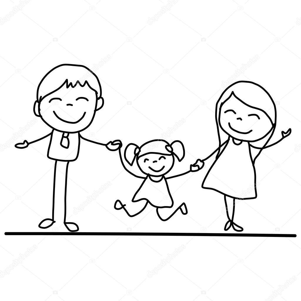 Rucni Kresleni Karikatury Stastna Rodina Stockova Ilustrace