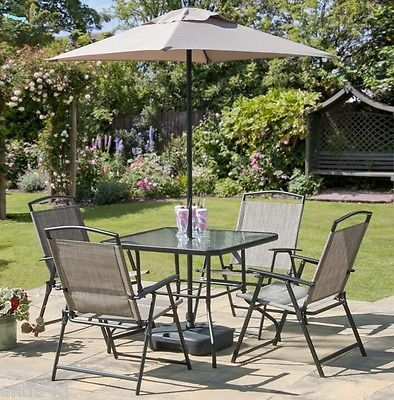 Garden Dining Set 4 Chairs Gl Table Parasol And Base Complete Patio Sets