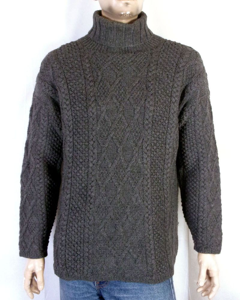 Euc Jcrew Mens Heavy 100 Wool Cable Knit Turtleneck Sweater