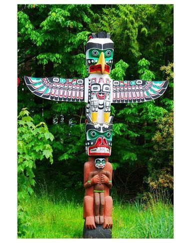 size: 56x44in Art Print: Totem Pole in Stanley Park : This art print displays sharp, vivid images with a high degree of color accuracy. A member of the versatile family of art prints, this high-quality reproduction represents the best of both worlds: quality and affordability. Art prints are created using a digital or offset lithography press.