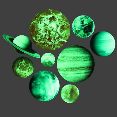 Luminous Solar System Wall Stickers 9 Planets Mars Kids Room Bedroom Decal Decor