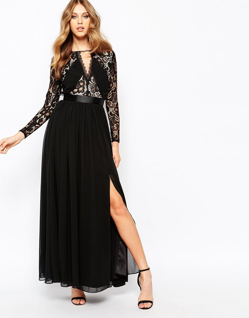 ASOS Fame and Partners Geo Heartline Lace Panel Long Sleeve Maxi ...